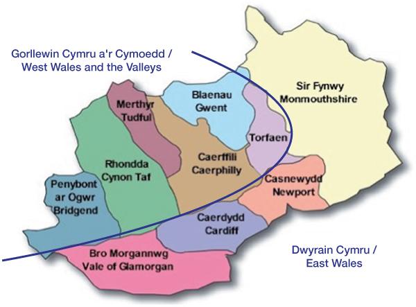 Map o Dde Ddwyrain Cymru